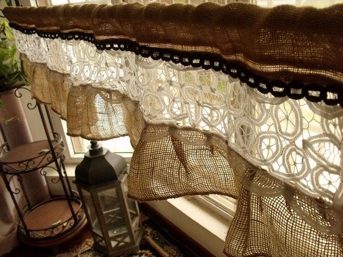 вязаные винтажные шторы в технике пэчворк
