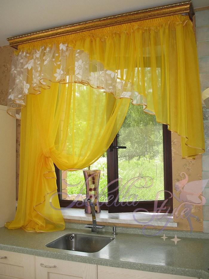 желтый тюль в кухне