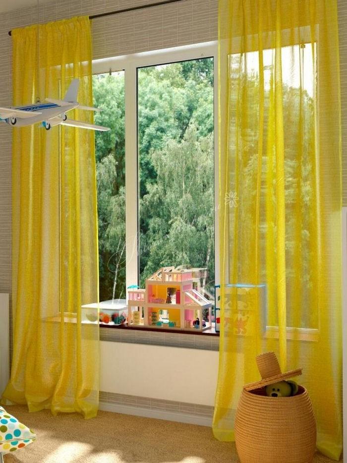 тюль желтого цвета в детской
