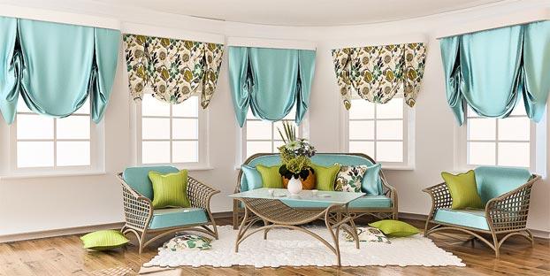 короткие английские шторы в гостиной