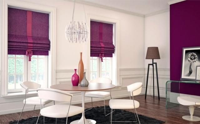 короткие римске шторы в столовой
