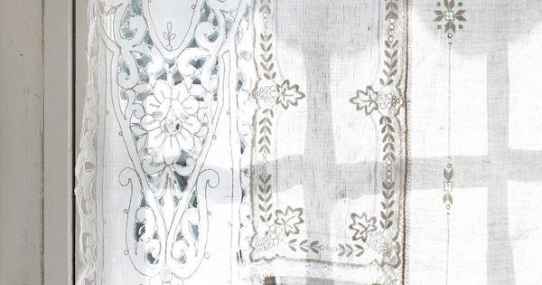 шторы в русском стиле из льняных салфеток