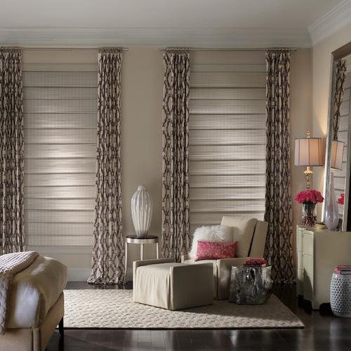 шторы с рисунком для узких окон спальни