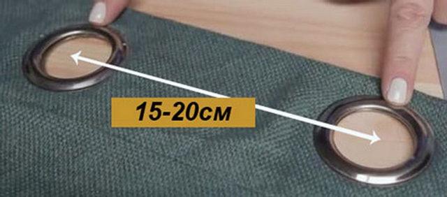вымеряем расстояние между люверсами на шторах