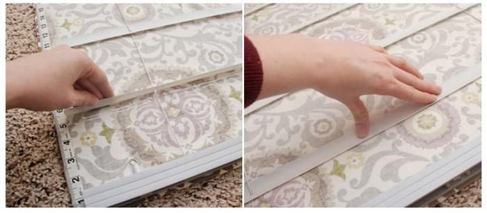 приклеивание полотна римской шторы к жалюзи