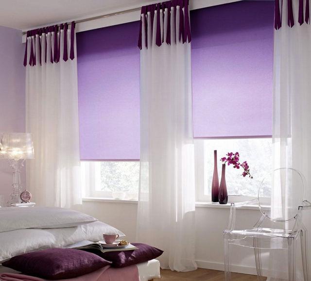 рулонная штора с тюлем в спальне