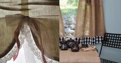 занавески из ткани мешковина