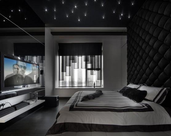 темно-серые шторы к черным обоям в спальной комнате