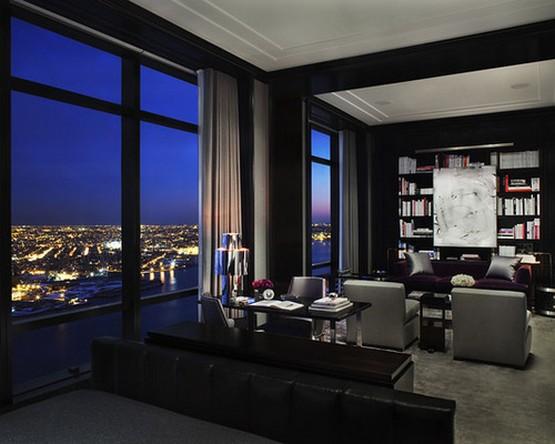 портьеры к черным стенам в гостиной в стиле хай тек