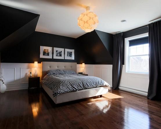 черныая римская штора в спальне с черными обоями
