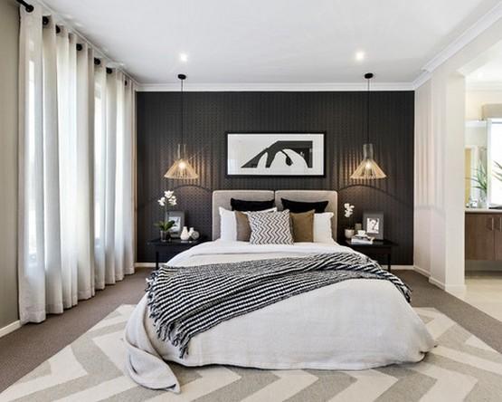черно-белый текстиль и шторы к черным обоям