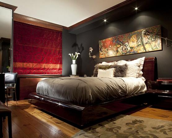 фото красной римской шторы к черным обоям в спальне