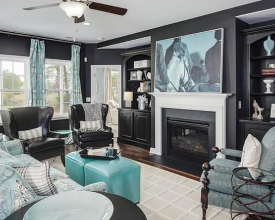 бирюзовые шторы к черным обоям в гостиной