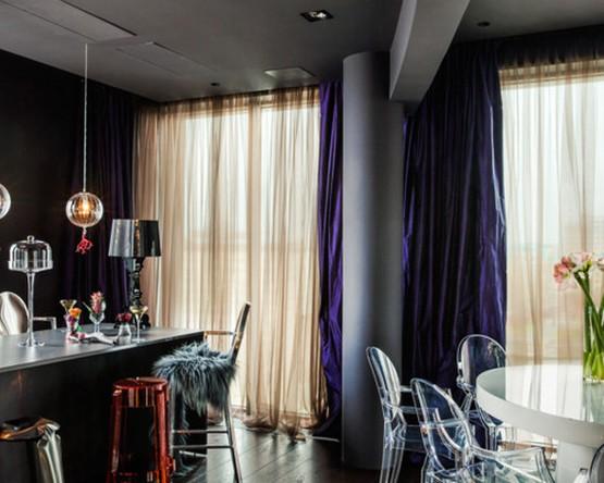 шторы к черным обоям в столовой