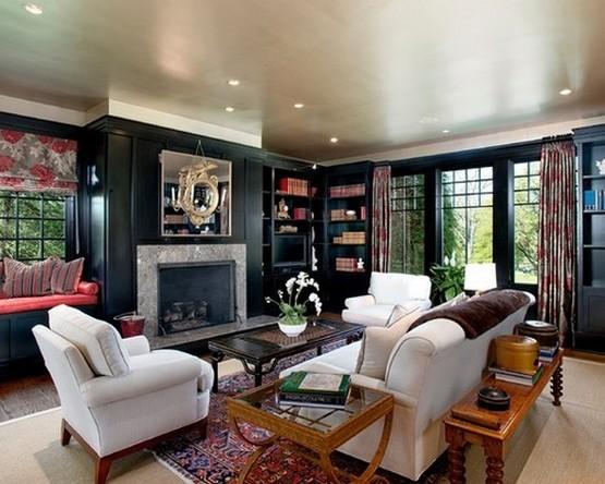 шторы к черным обоям гостиной