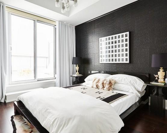 белый текстиль и шторы к черным обоям в спальной комнате