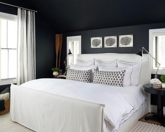 белый тюль к черным обоям в спальне
