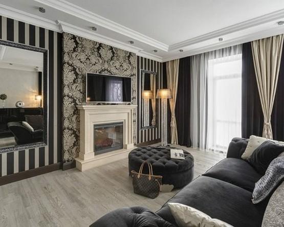 фото штор к черно-белым стенам в гостиной
