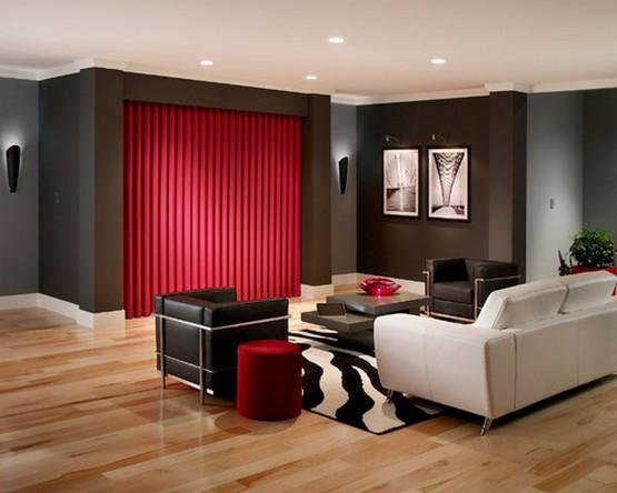 фото красных портьер к черным стенам спальни