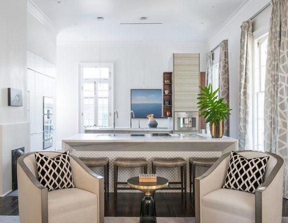 шторы для кухни совмещенной с гостиной