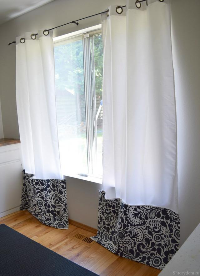 удлинение штор пришиванием полоски ткани снизу