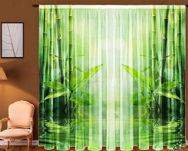 зеленый тюль с изображением бамбука