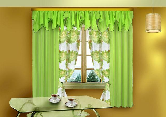 тюль зеленго цвета в кухне