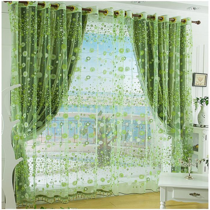 зеленые гардины с зеленым тюлем