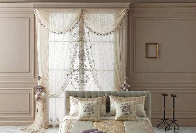 тюль белого цвета с вышивкой в спальне