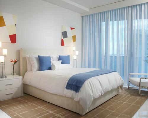 тюль голубого цвета в спальне