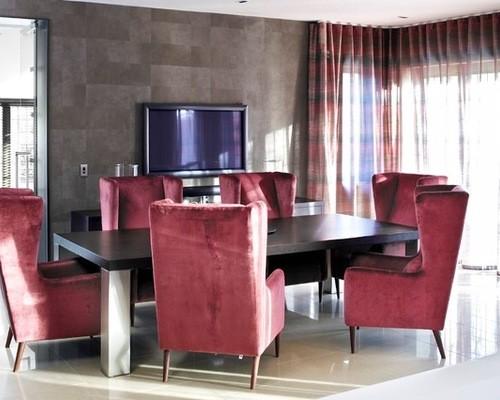 красно-черный тюль в гостиной