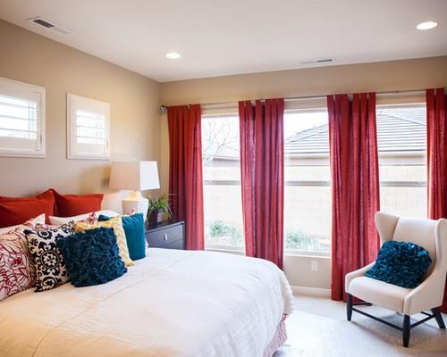тюль красного цвета в спальне