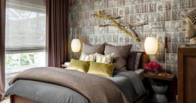 фото дизайна штор к коричневым стенам