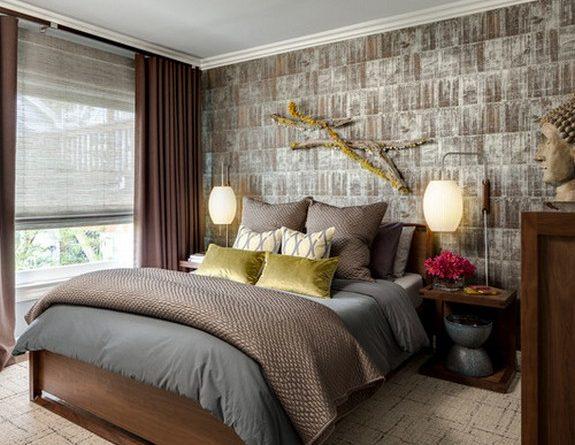 Фото штор к коричневым обоям