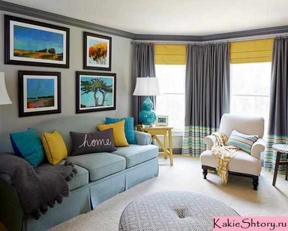 общий цвет штор и декоративных подушек под серые обои