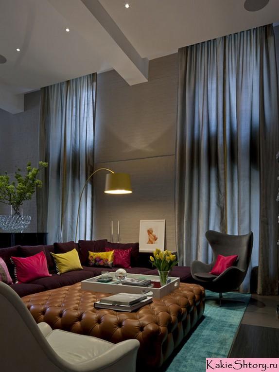 сочетание цвета штор и декора к серым обоям
