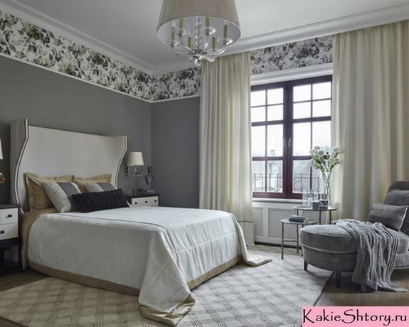 шторы под серые обои в спальной комнате