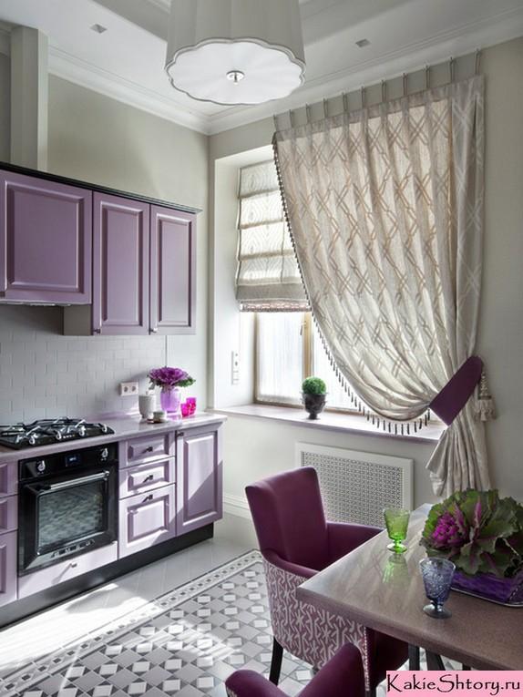 занавески молочного цвета в кухне