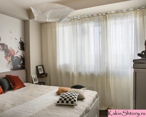 молочные занавески в спальне