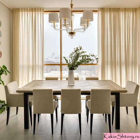 молочные шторы в столовой