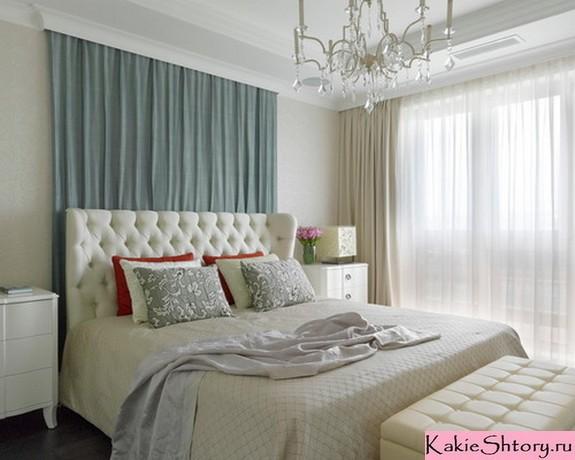 молочные шторы в спальне