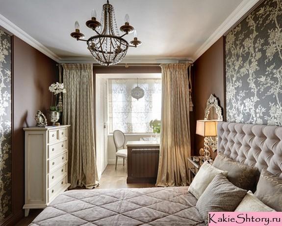 молочные шторы в классической спальне