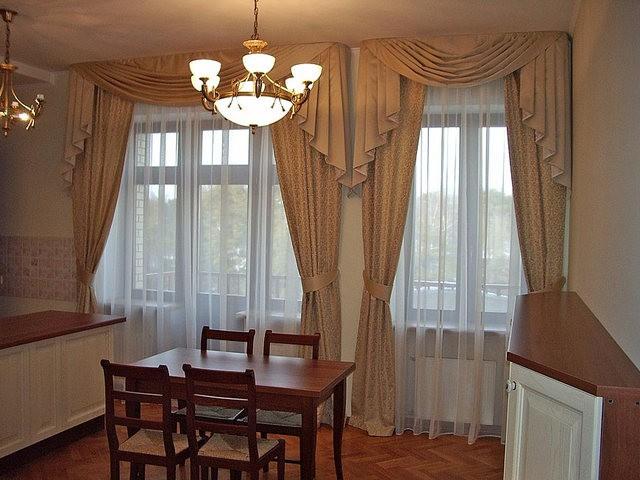 портьеры на 2 окна в кухне