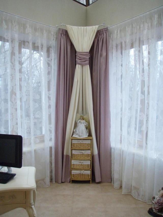занавески на 2 окна в углу