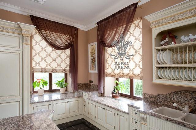 занавески на 2 окна в кухне