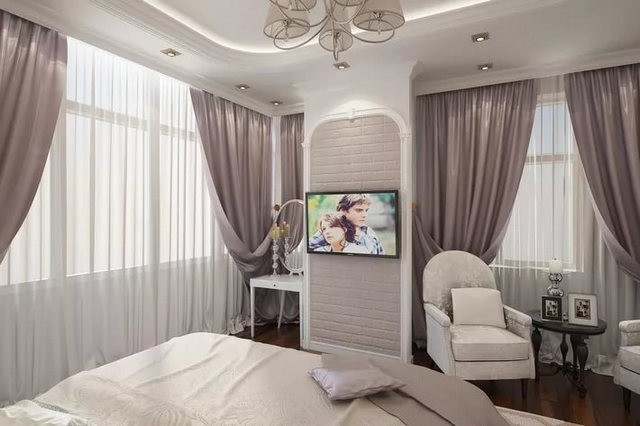 тюль и шторы на 2 окна в спальной комнате