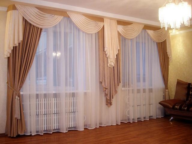 тюль на 2 окна в гостиной