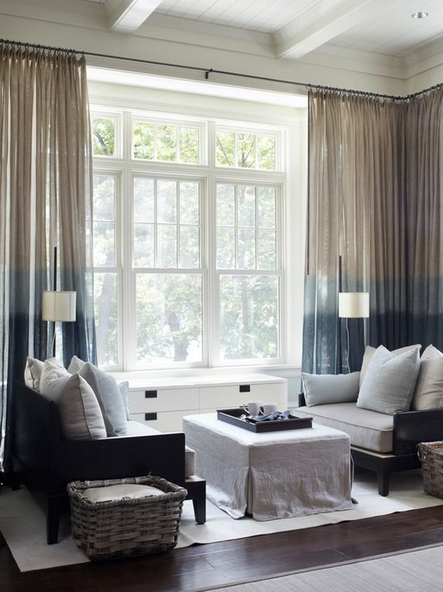 градиентные шторы к белым стенам