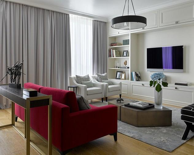 серые портьеры к белым обоям гостиной
