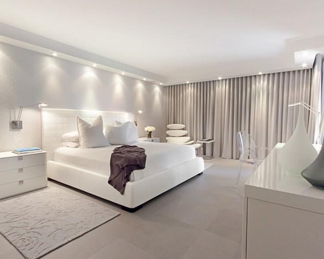 портьеры под белые обои в спальне в скандинавском стиле